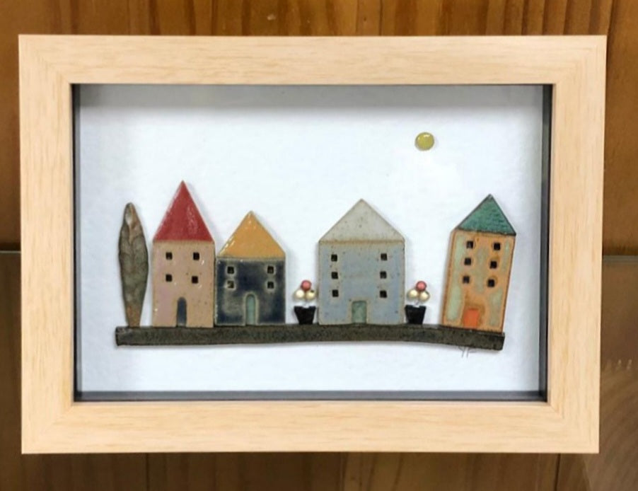 Yvonne Fleming Pottery Houses in Pine Frame 2
