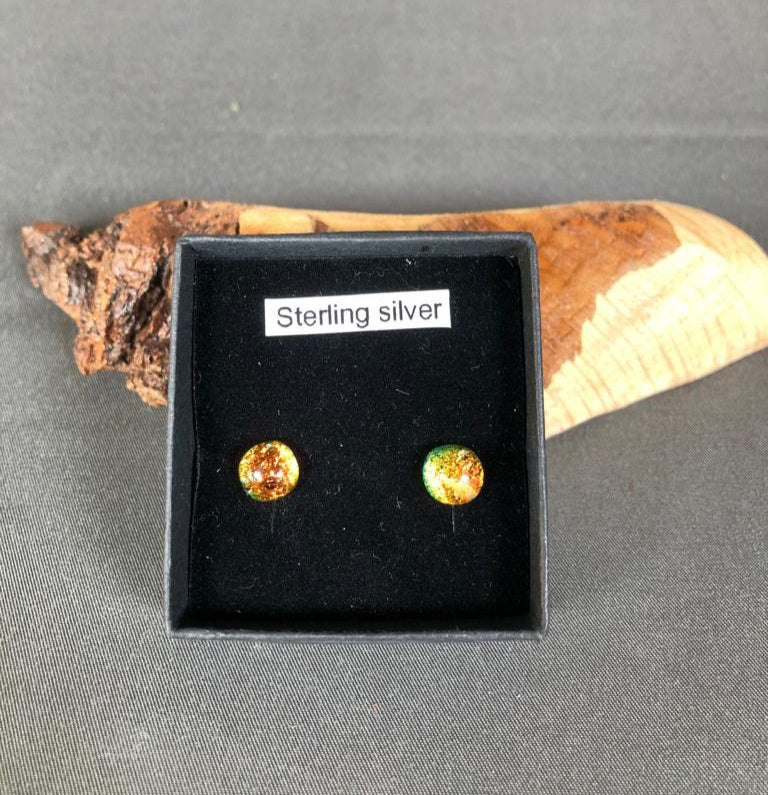 Natasha Duddy Glass Design Fire Stud Earrings