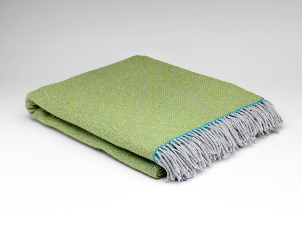 McNutt Of Donegal Maddie Herringbone Throw Lime Green with Blue Trim
