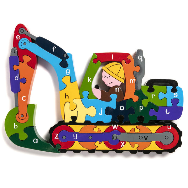 Alphabet Jigsaws Handcrafted Wooden Jigsaw: Alphabet Digger
