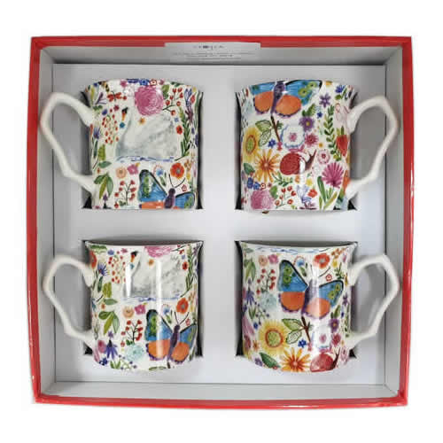Shannonbridge Pottery Ireland 4 Piece Set Swan Garden