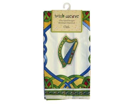 Irish Weave Set of Two tea Towels Irish Blessing & Emblems