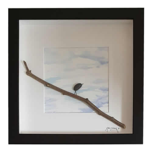 Stone the Crows Crow On Branch Box Frame Black