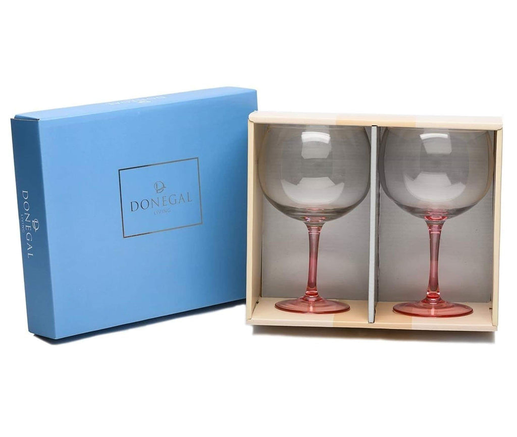 Donegal Living Set of Two Gin Glasses Pink