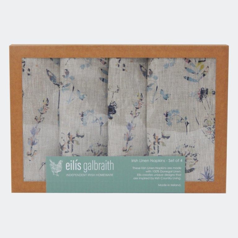 Eilís Galbraith Designs Green Floral 100% Natural Irish Linen Set Of 4 Table Napkins