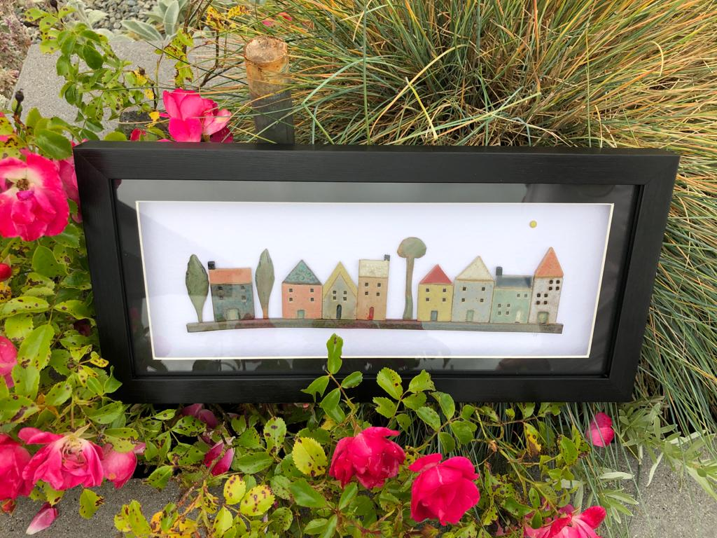 Yvonne Fleming Pottery Houses in Black Frame