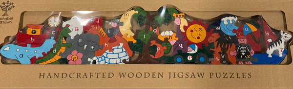 Alphabet Jigsaws Handcrafted Wooden Alphabet Sun and Moon