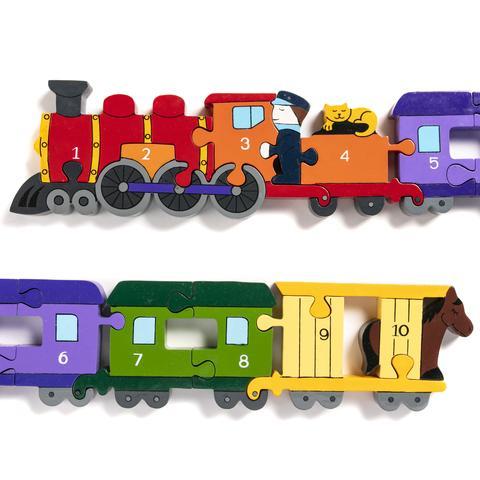 Handcrafted Wooden Jigsaw: Number Train
