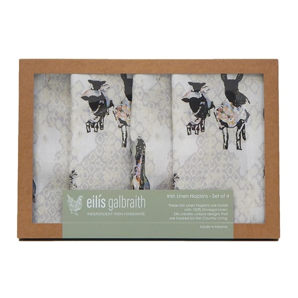 Eilís Galbraith Designs Peek A Boo Natural Irish Linen Set Of 4 Table Napkins
