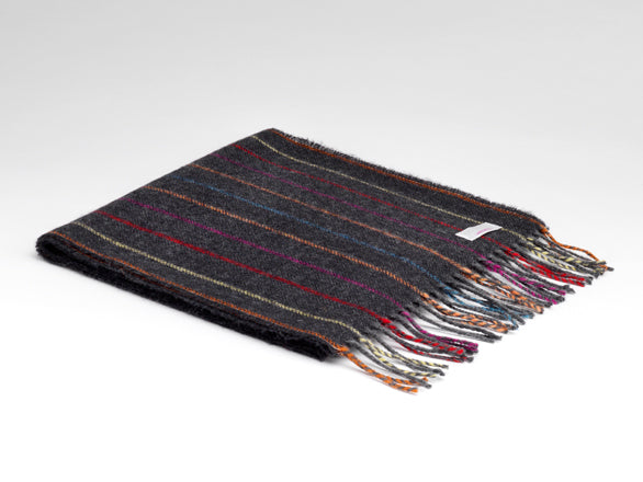 McNutt Of Donegal Charcoal Rainbow Striped Scarf