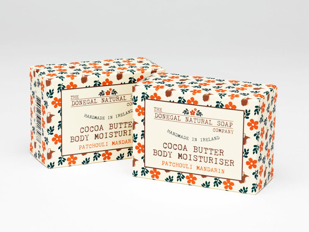 The Donegal Natural Soap Company Patchouli Mandarin Cocoa Butter Body moisturiser Bar