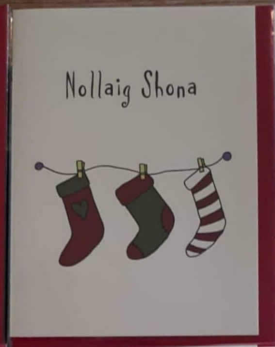Cárdaí Rúbaí Christmas Stocking Card