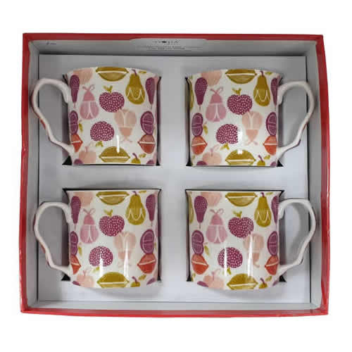 Shannonbridge Pottery Ireland 4 Piece Set Orchard Mug A