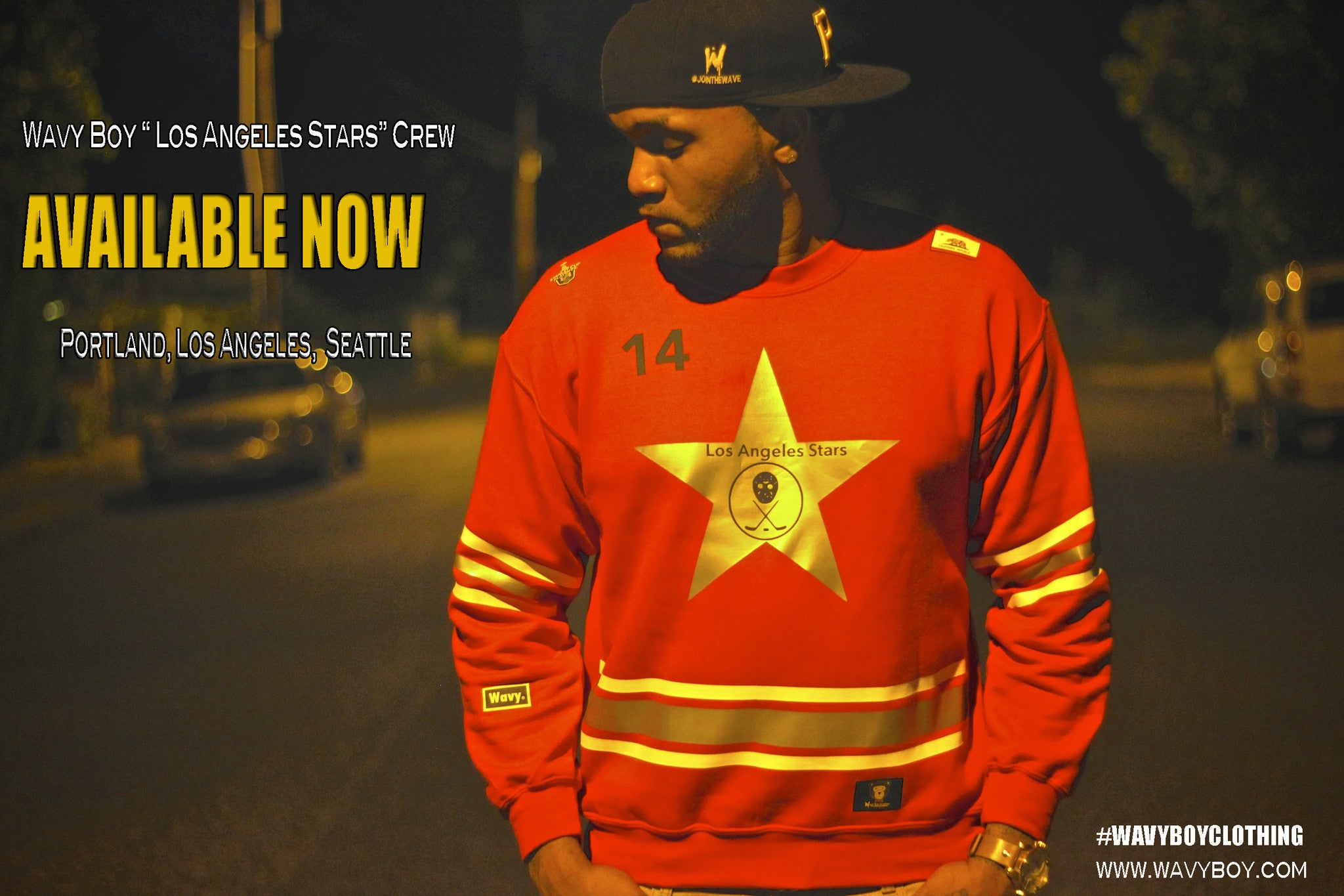 "Wavy Boy ""Los Angeles Stars"" Crew - Wavy Boy Clothing  - 3"