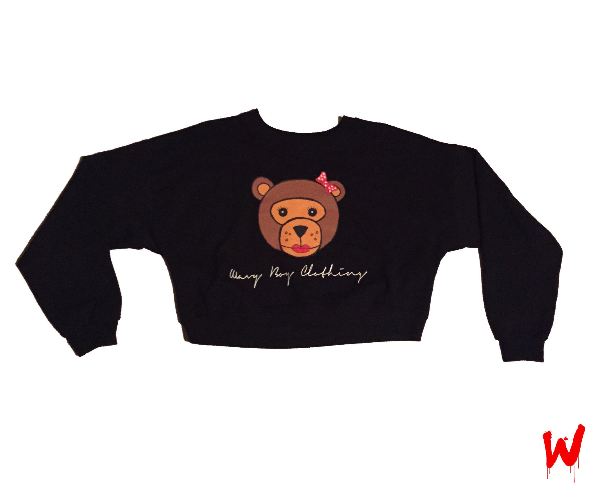 "Wavy Boy ""Wavy Bear"" cropped crew - Wavy Boy Clothing  - 1"