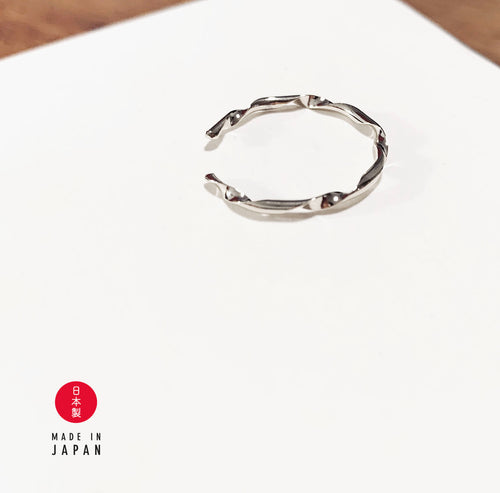 Wave Series: Saturn - 18K Ring x Ear Cuff - Silver Rhodium
