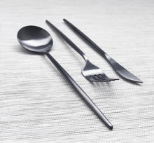 Load image into Gallery viewer, Charcoal Black Matte Cutlery Set of 3