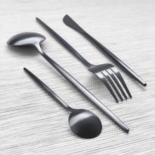 Load image into Gallery viewer, Charcoal Black Matte Cutlery Set of 4