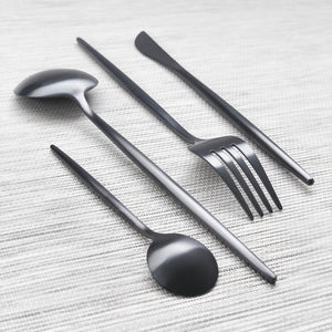 Charcoal Black Matte Cutlery Set of 4