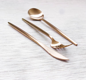 Gold Matte Cutlery Set of 3