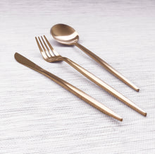 Load image into Gallery viewer, Gold Matte Cutlery Set of 3