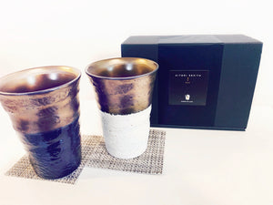 Pair Cups Set - Black & White Gold