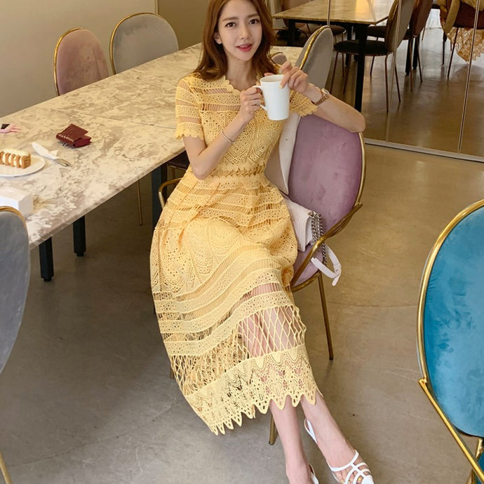 Yellow Lace Dress Summer