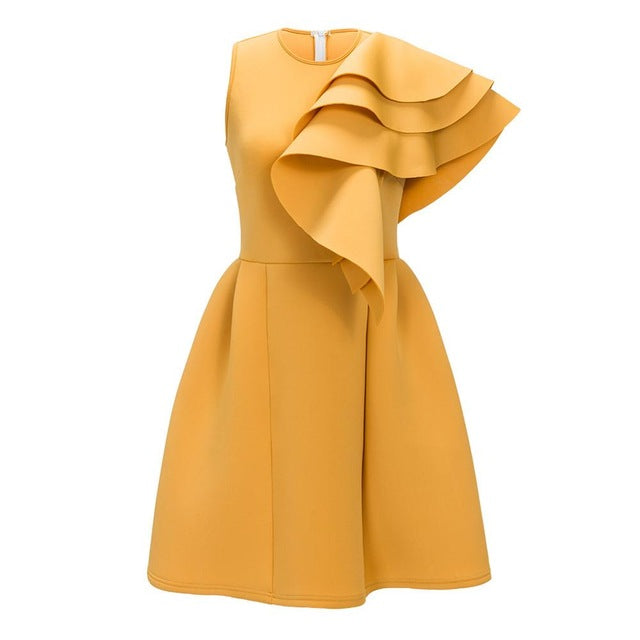 New Year Yellow Dress Party Off Shoulder Sleeveless