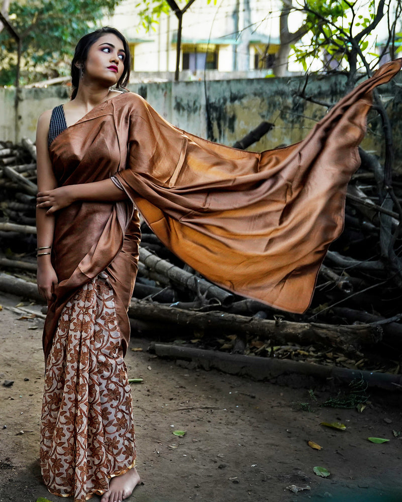 Cinnamon Brown Half & Half Organza Saree