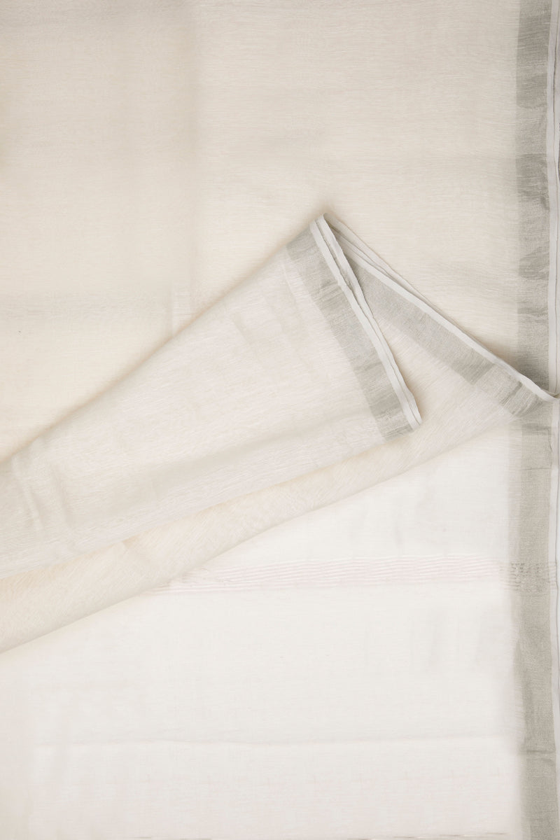 Silver White - Handwoven Silk Linen Saree