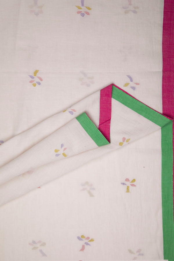 Flower Strokes - Cotton Khadi Jamdani Saree