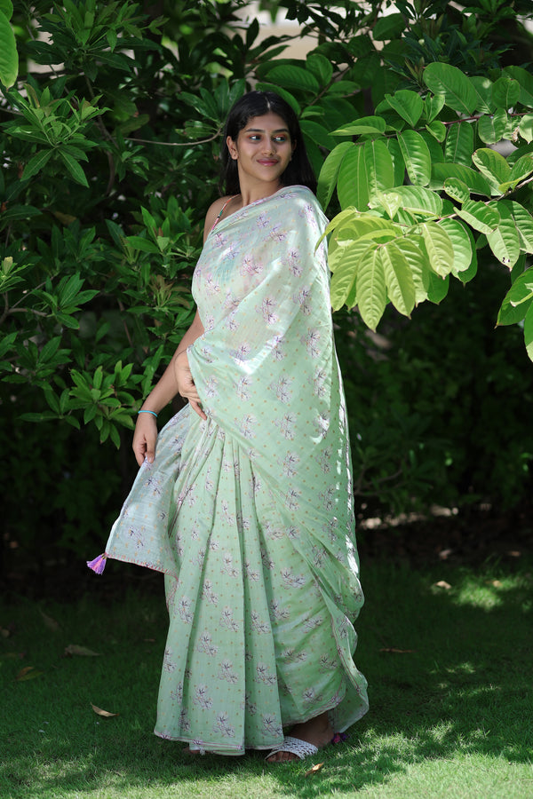 Pink Floral Prints On Green - Pure Chanderi Silk Saree