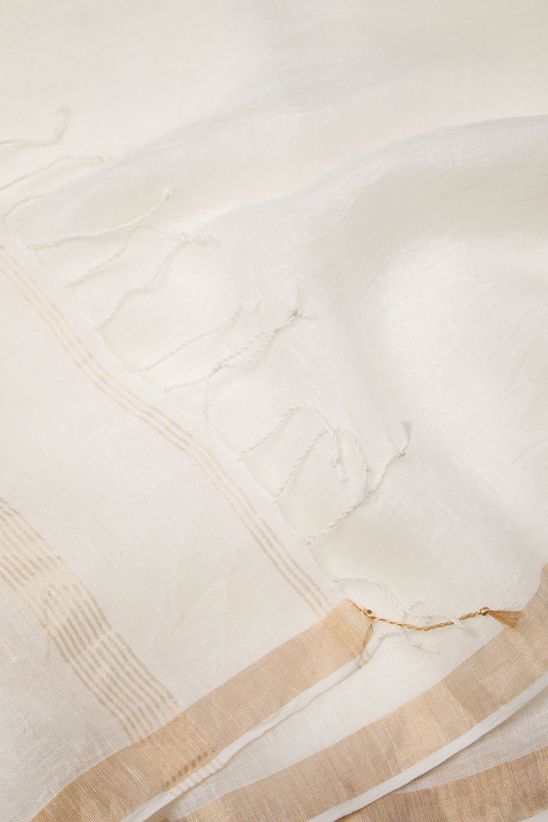 Golden White - Handwoven Silk Linen Saree