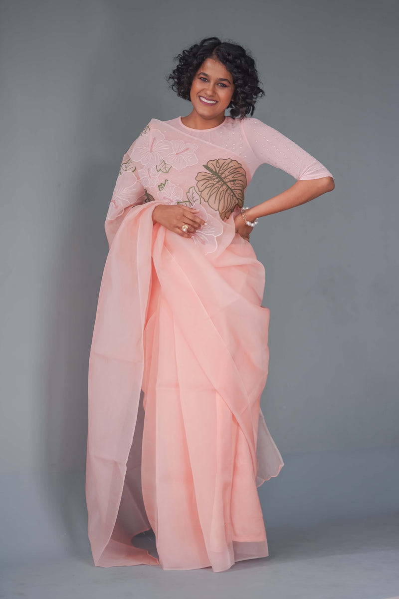 Peach blossom Hand Embroidered Organza Silk Saree