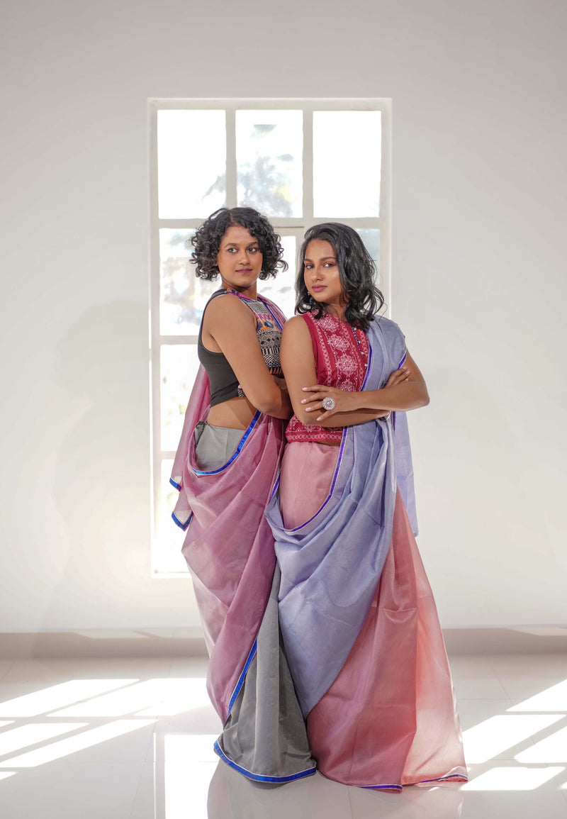 Thulian Pink  - Cloudy Grey Moonga Tussar Saree