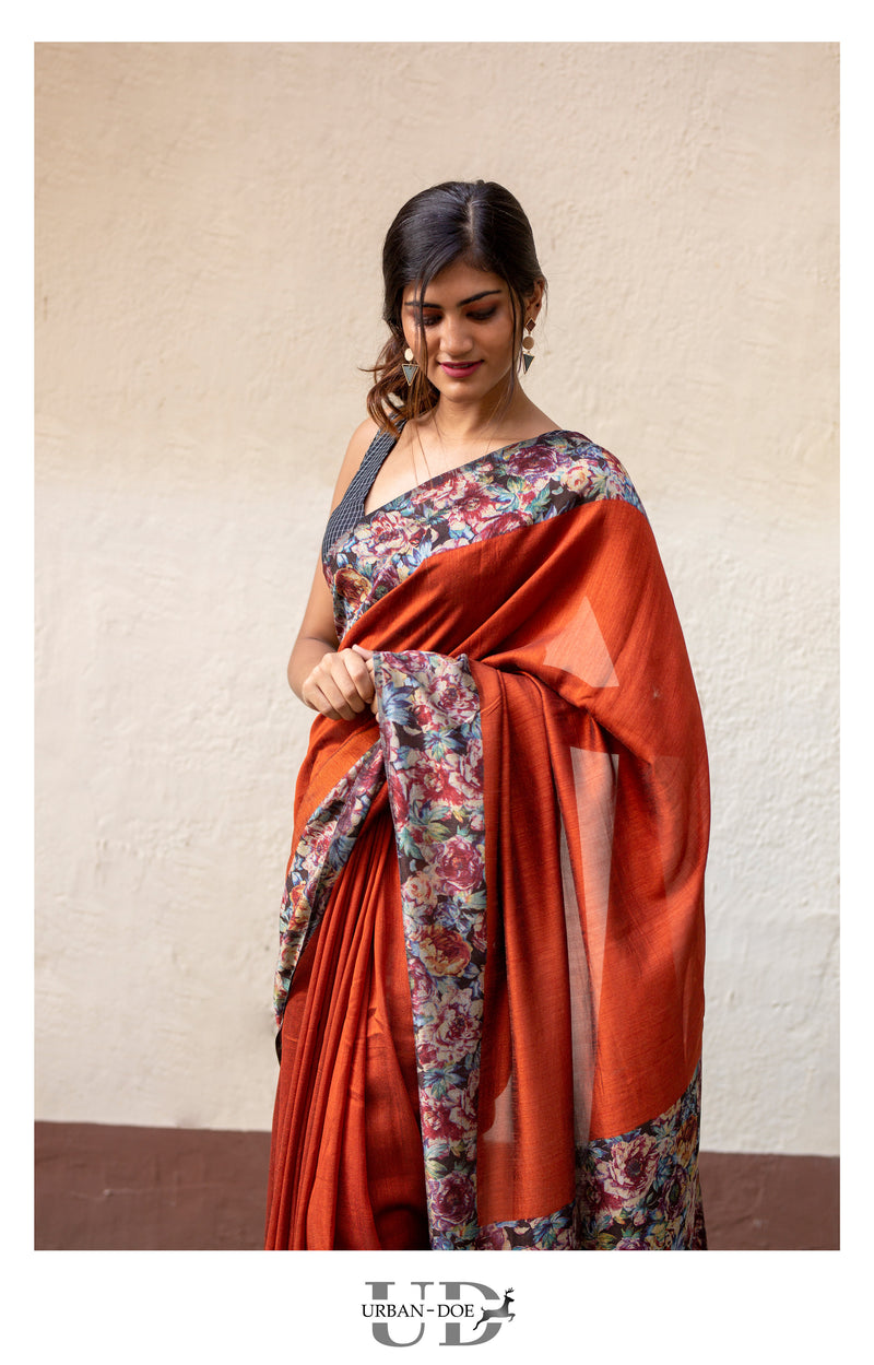 Rust Orange Semi Tussar Saree