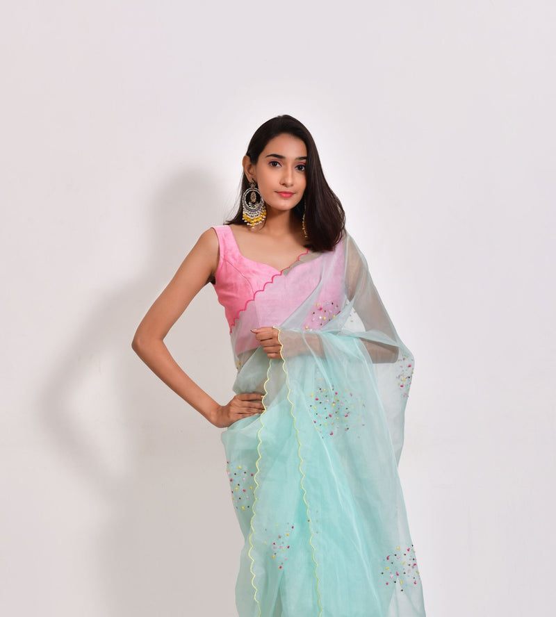Sea Green Long Island - Pure Organza Silk Saree