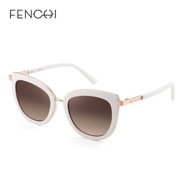 FENCHI New Cat Eye WHITE ROSE GOLD Sunglasses Women - Amore Alpha Twin