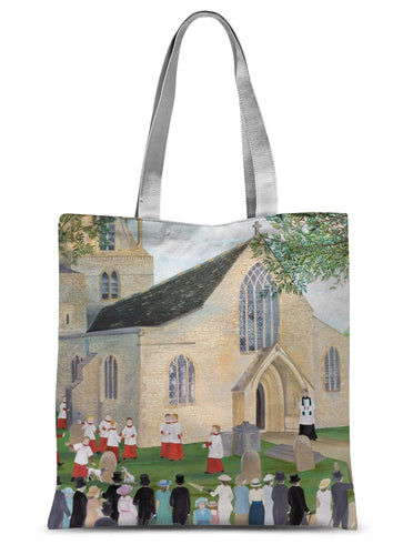 Bampton Church as used in Downton Abbey Sublimation Tote Bag