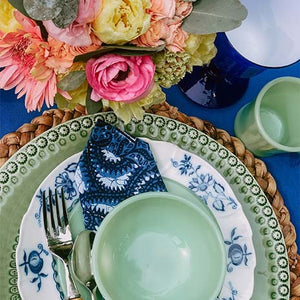 Blues and Greens Perfect for a Vintage Table