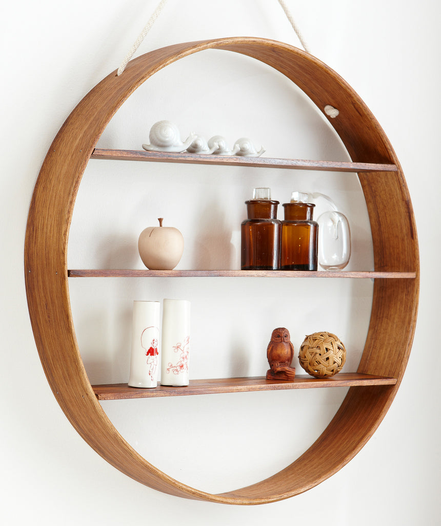 Oak Circle Shelf - Three Tier - Walnut Finish