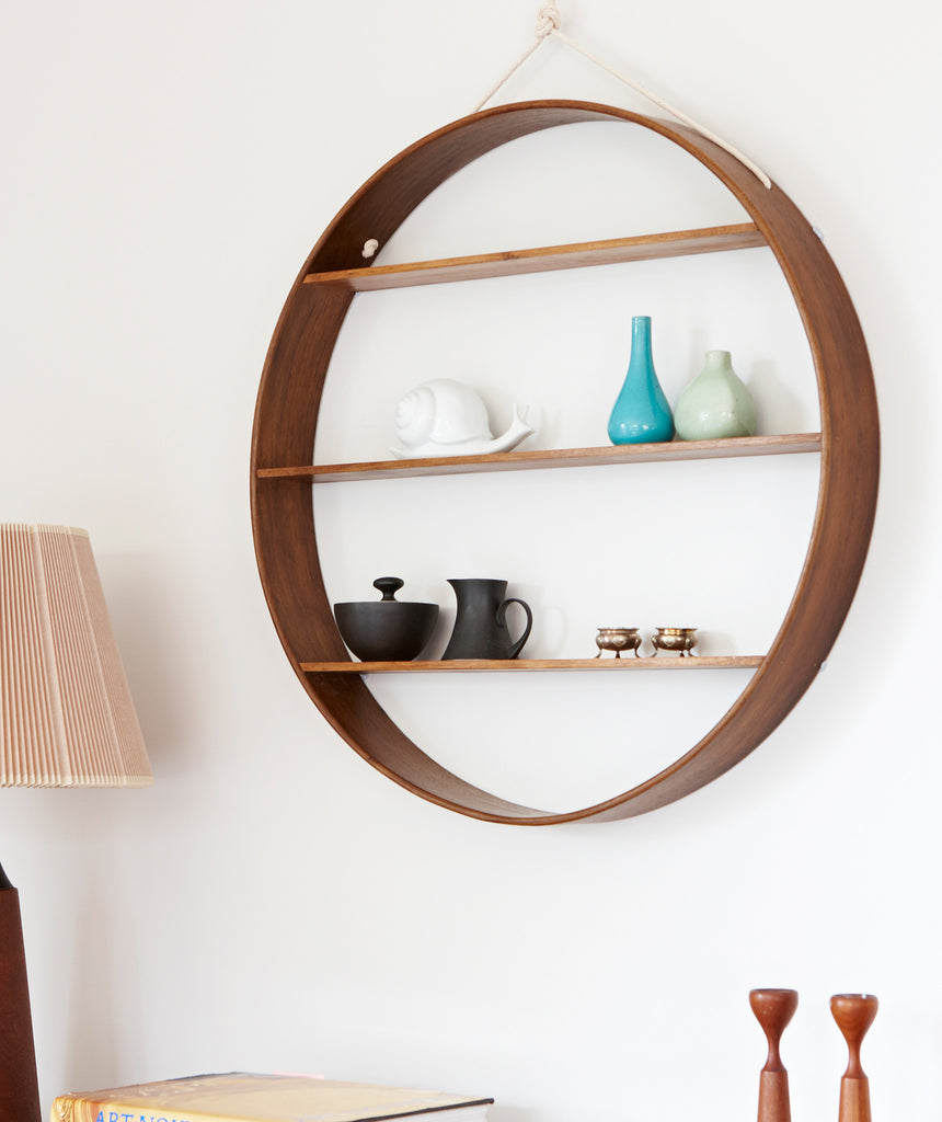 Large Oak Circle Shelf - Walnut Finish