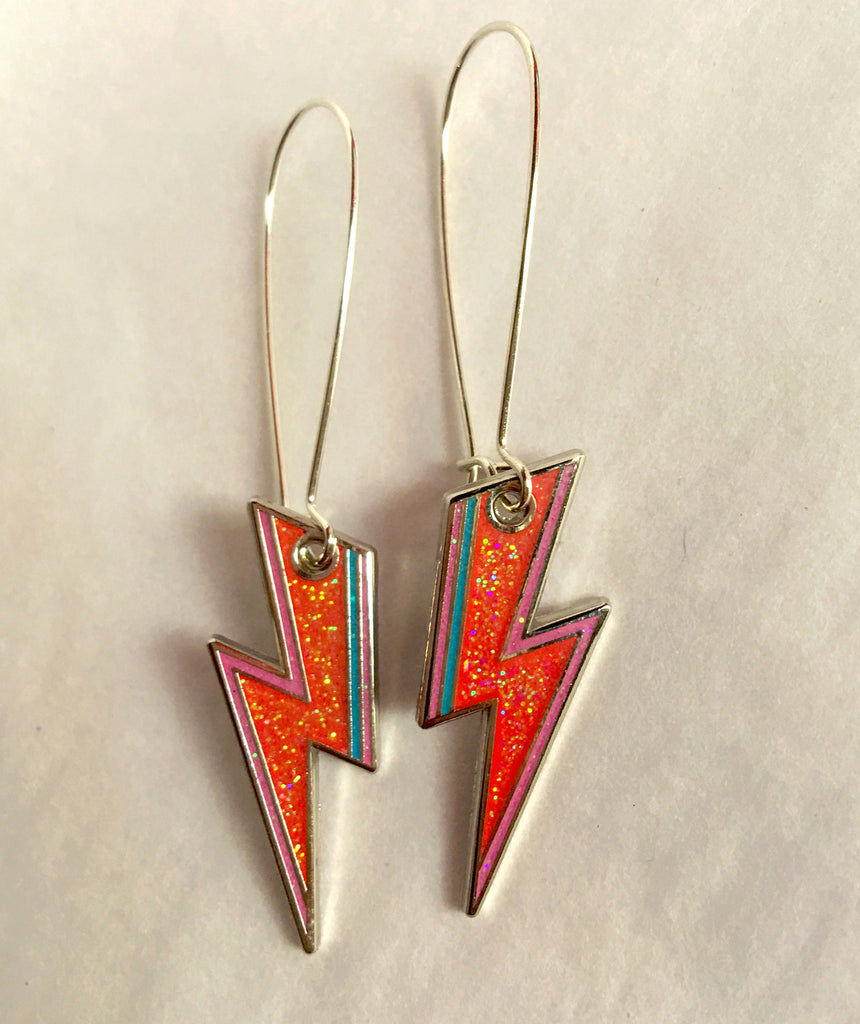 Red Glitter ZIGGY Earrings- Free Aus-wide Shipping