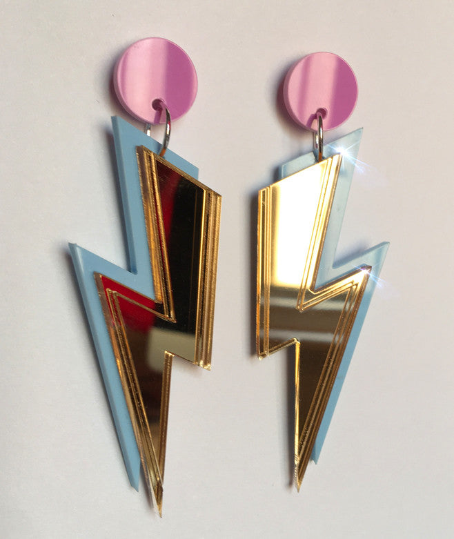 GOLD Mirror Bolt Earrings- Free Aus Shipping