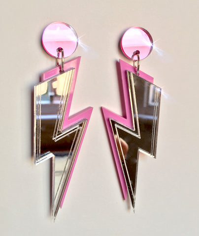 Mirrored Bolt Earrings- Free Shipping