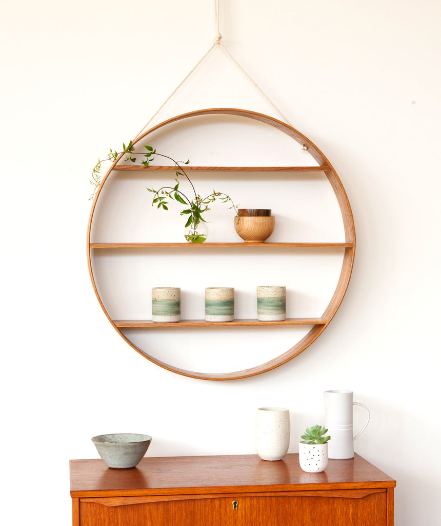 Large Oak Circle Shelf - Oiled Finish