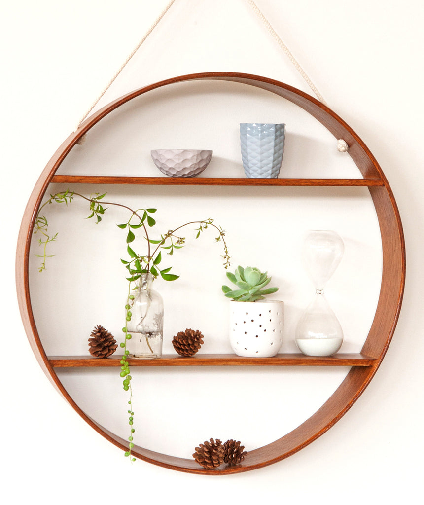 Oak Circle Shelf - Two Tier - Walnut Finish