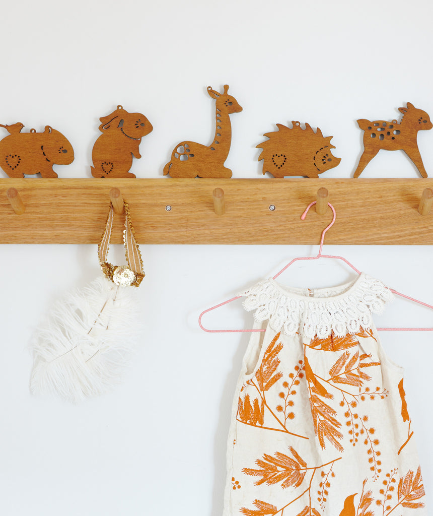 Baby Animals Wall Hanging, Walnut