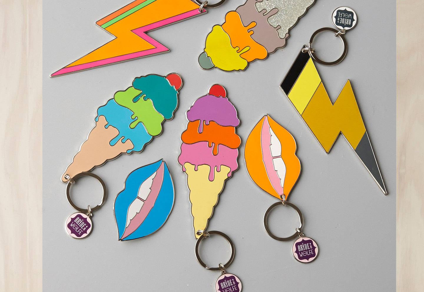 Graphic Enamel - Key Rings and Brooches