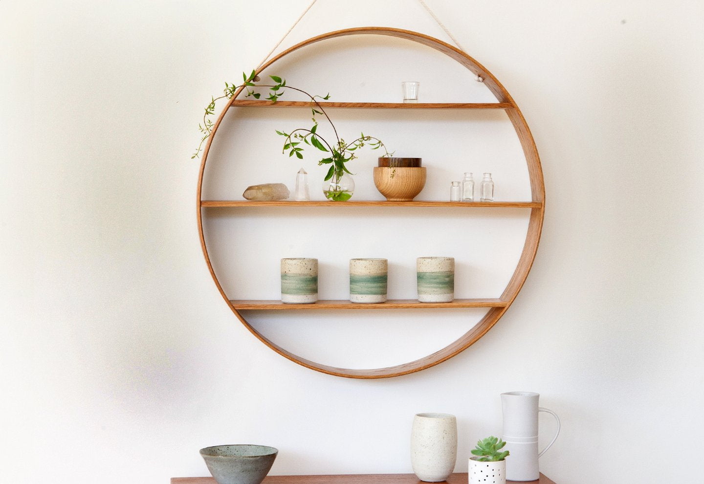 Original Oak Circle Shelves - Classic Mid Century Design
